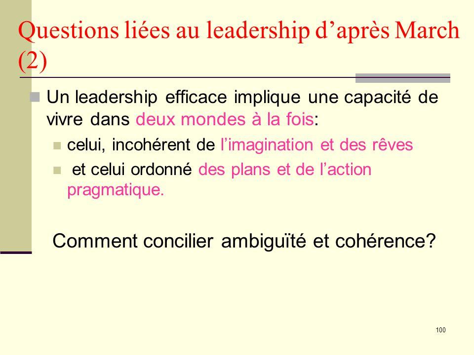 100 Questions liées au leadership daprès March (2) Un leadership efficace implique une capacité de vivre dans deux mondes à la fois: celui, incohérent de limagination et des rêves et celui ordonné des plans et de laction pragmatique.