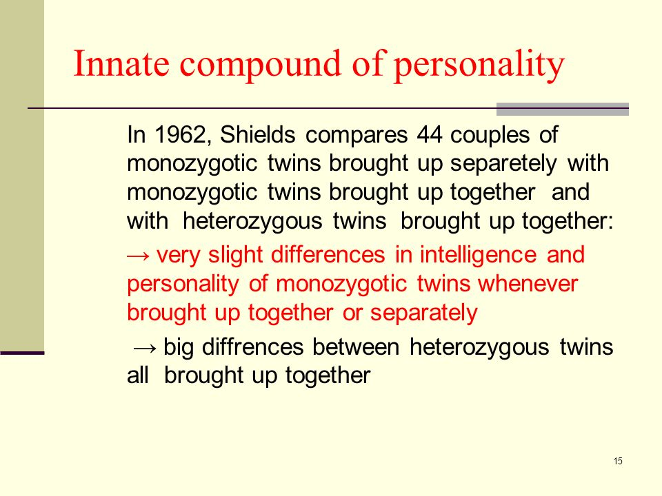 15 Innate compound of personality In 1962, Shields compares 44 couples of monozygotic twins brought up separetely with monozygotic twins brought up together and with heterozygous twins brought up together: very slight differences in intelligence and personality of monozygotic twins whenever brought up together or separately big diffrences between heterozygous twins all brought up together