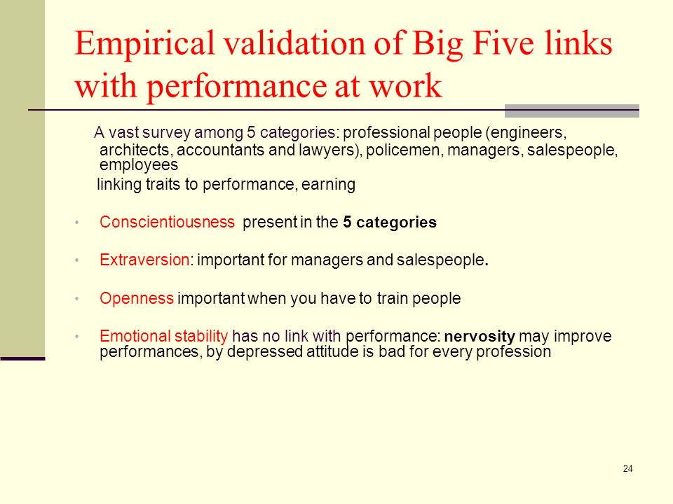 24 Empirical validation of Big Five links with performance at work A vast survey among 5 categories: professional people (engineers, architects, accou