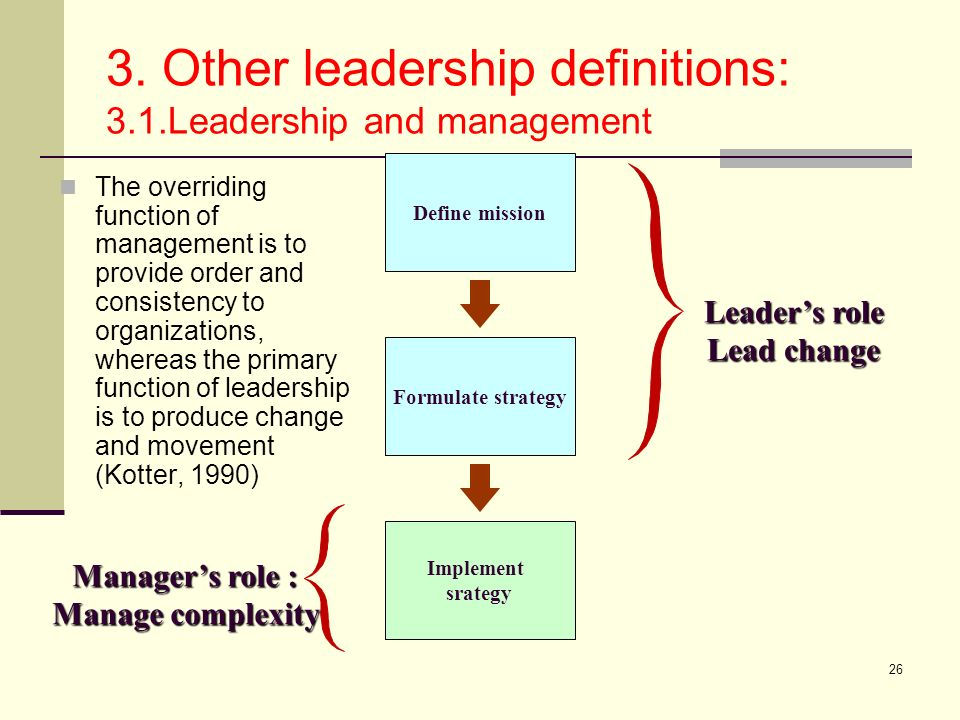 26 3. Other leadership definitions: 3.1.Leadership and management The overriding function of management is to provide order and consistency to organiz
