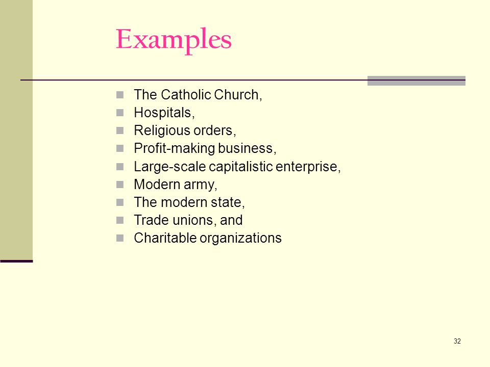 32 Examples The Catholic Church, Hospitals, Religious orders, Profit-making business, Large-scale capitalistic enterprise, Modern army, The modern state, Trade unions, and Charitable organizations