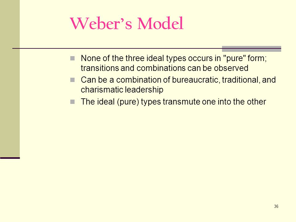 36 Webers Model None of the three ideal types occurs in pure form; transitions and combinations can be observed Can be a combination of bureaucratic, traditional, and charismatic leadership The ideal (pure) types transmute one into the other