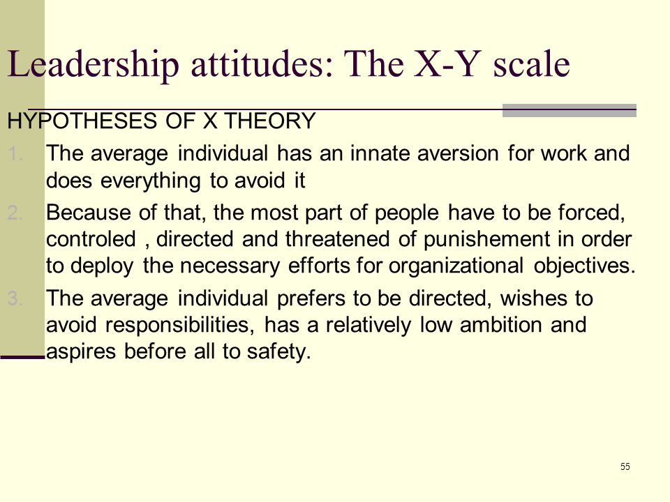 55 Leadership attitudes: The X-Y scale HYPOTHESES OF X THEORY 1.