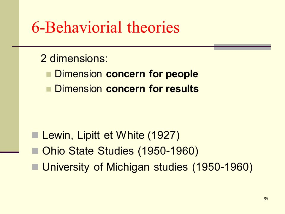 59 6-Behaviorial theories 2 dimensions: Dimension concern for people Dimension concern for results Lewin, Lipitt et White (1927) Ohio State Studies (1950-1960) University of Michigan studies (1950-1960)