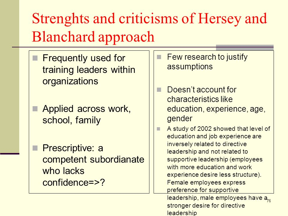 76 Strenghts and criticisms of Hersey and Blanchard approach Frequently used for training leaders within organizations Applied across work, school, family Prescriptive: a competent subordianate who lacks confidence=>.