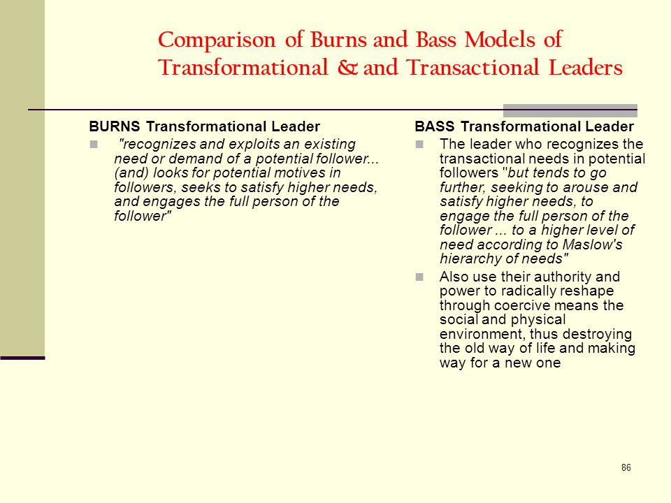 86 Comparison of Burns and Bass Models of Transformational & and Transactional Leaders BURNS Transformational Leader