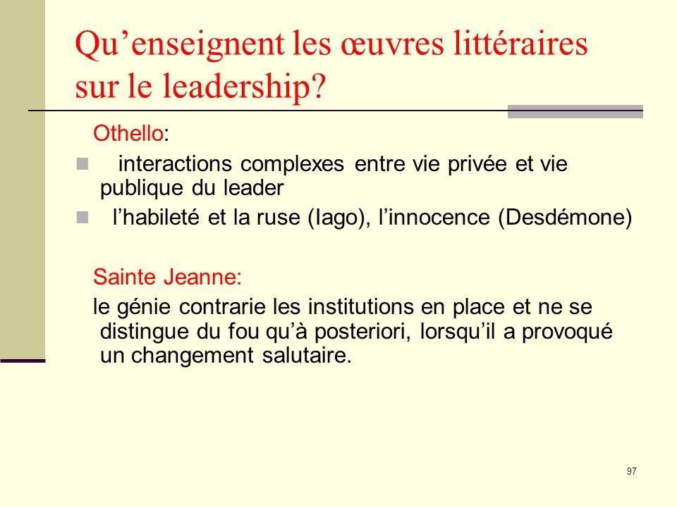 97 Quenseignent les œuvres littéraires sur le leadership.
