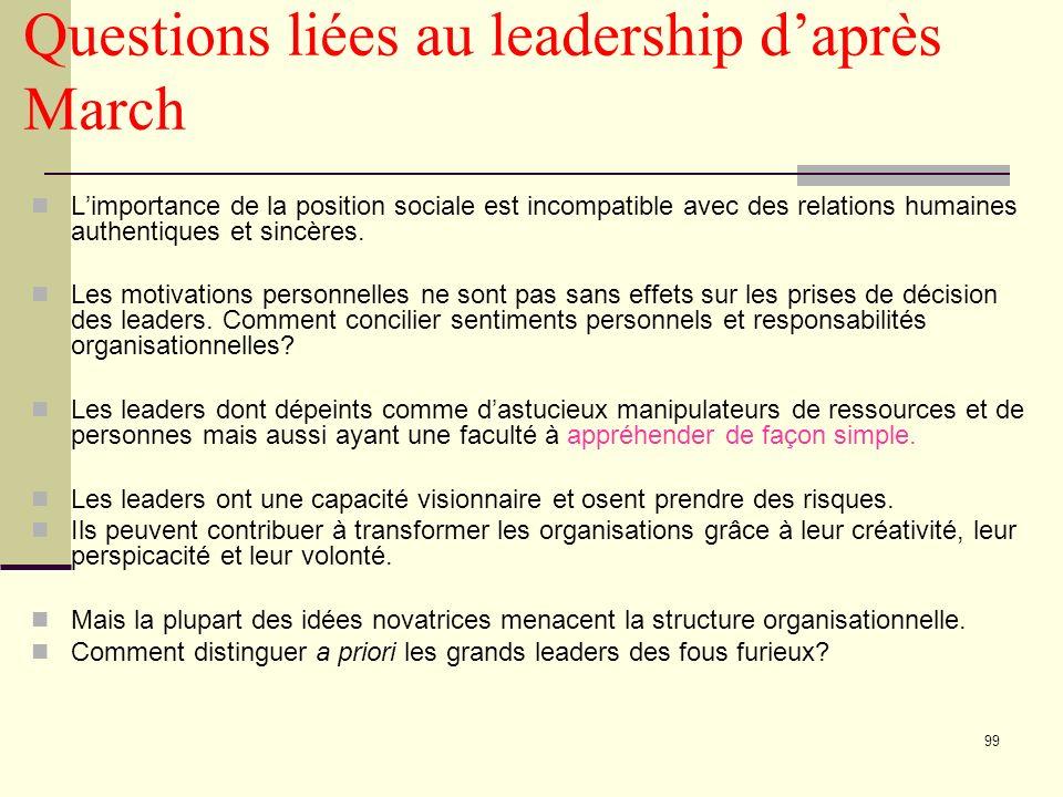 99 Questions liées au leadership daprès March Limportance de la position sociale est incompatible avec des relations humaines authentiques et sincères.