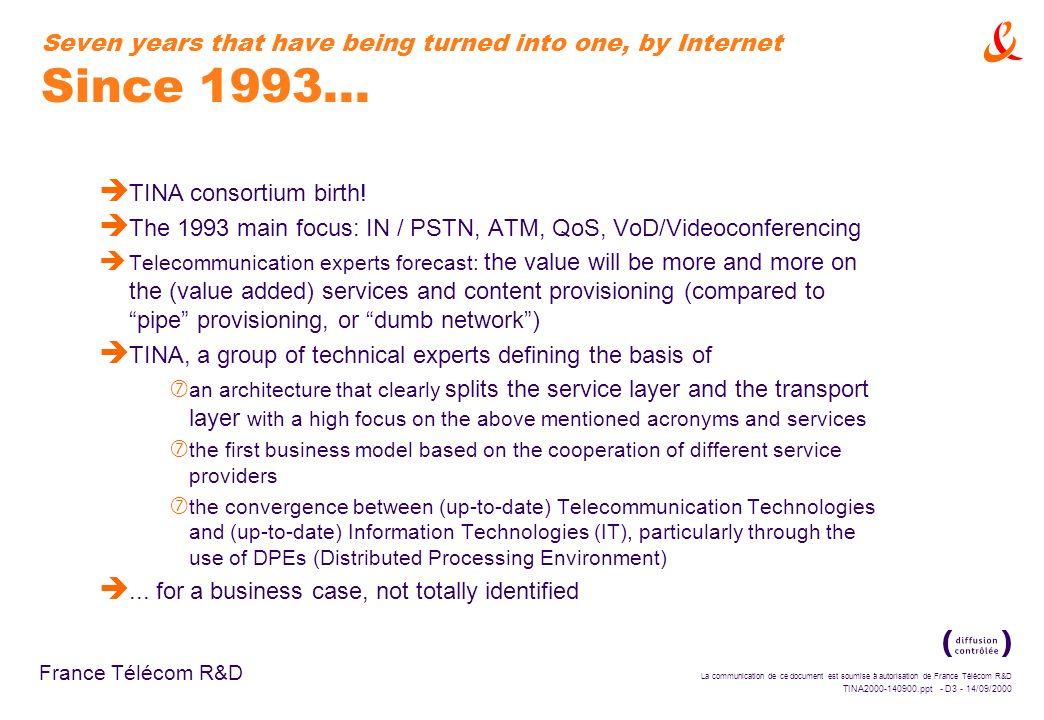 La communication de ce document est soumise à autorisation de France Télécom R&D TINA2000-140900.ppt - D2 - 14/09/2000 France Télécom R&D Outline è Se