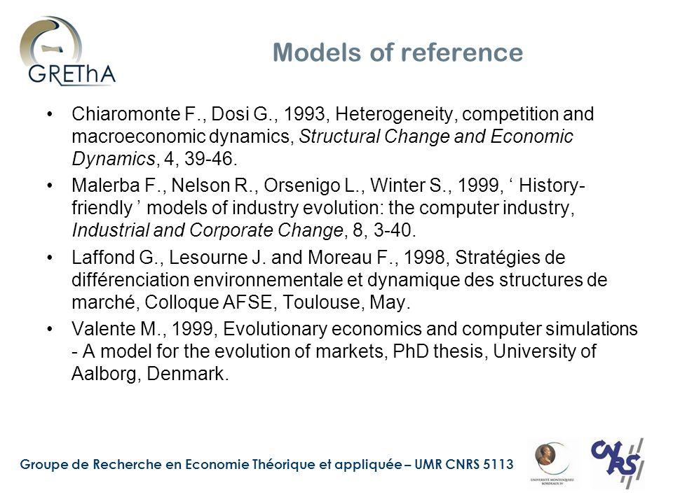 Groupe de Recherche en Economie Théorique et appliquée – UMR CNRS 5113 Models of reference Chiaromonte F., Dosi G., 1993, Heterogeneity, competition a