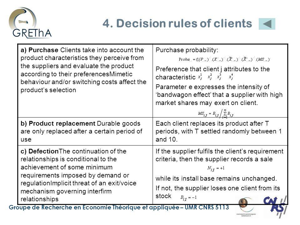 Groupe de Recherche en Economie Théorique et appliquée – UMR CNRS 5113 4. Decision rules of clients a) Purchase Clients take into account the product