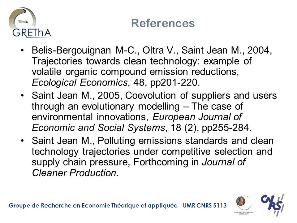 Groupe de Recherche en Economie Théorique et appliquée – UMR CNRS 5113 References Belis-Bergouignan M-C., Oltra V., Saint Jean M., 2004, Trajectories