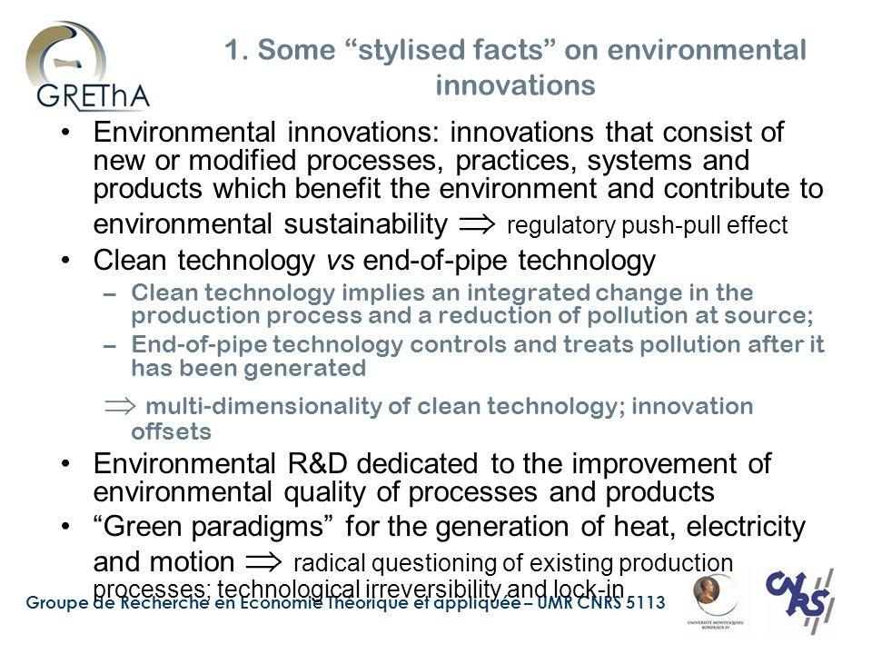 Groupe de Recherche en Economie Théorique et appliquée – UMR CNRS 5113 1. Some stylised facts on environmental innovations Environmental innovations:
