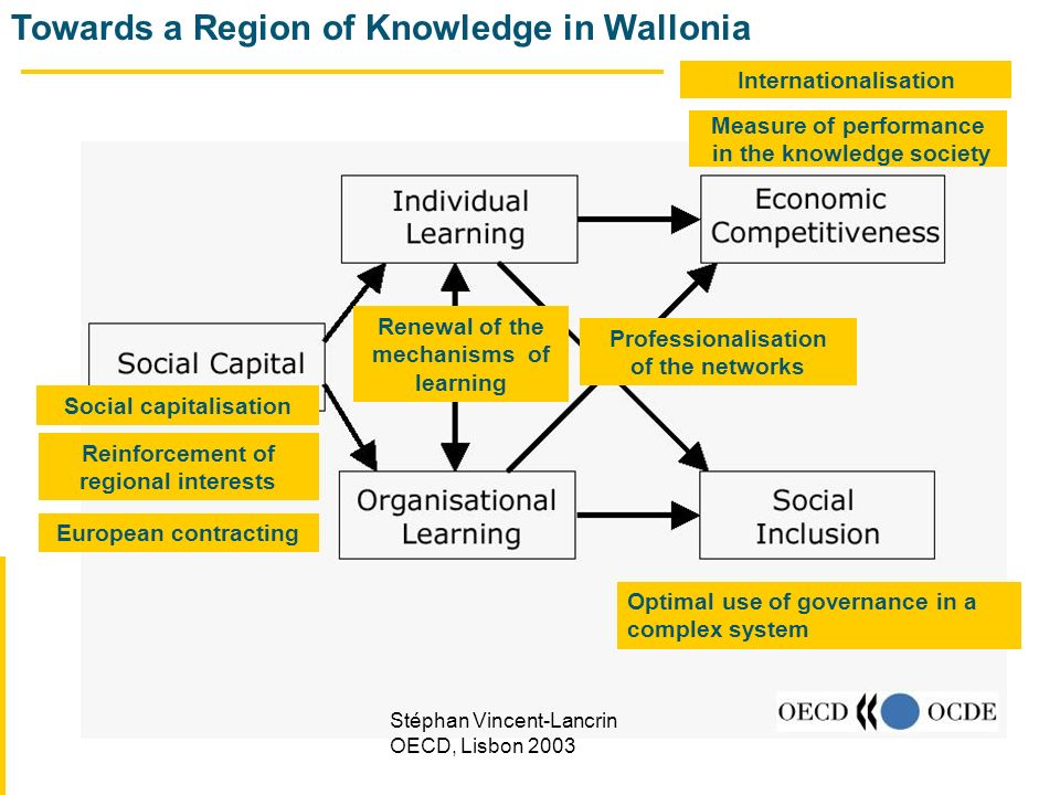 Towards a Region of Knowledge in Wallonia Stéphan Vincent-Lancrin OECD, Lisbon 2003 Social capitalisation Reinforcement of regional interests European contracting Renewal of the mechanisms of learning Professionalisation of the networks Optimal use of governance in a complex system Internationalisation Measure of performance in the knowledge society