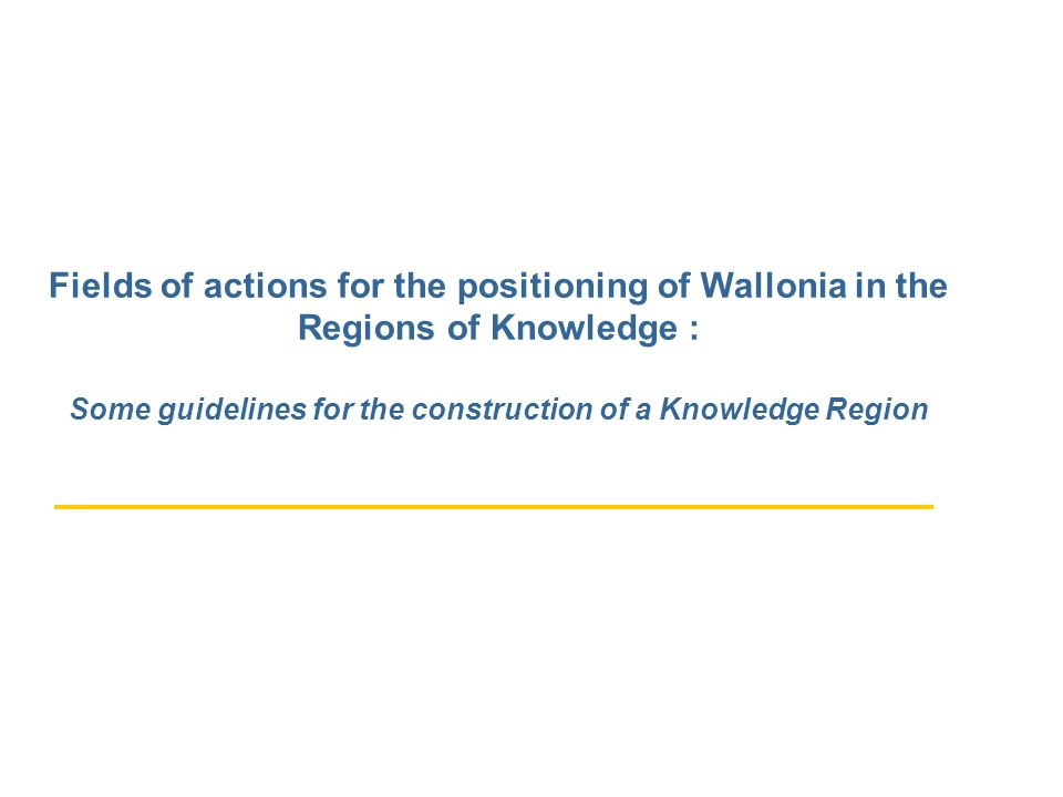 Fields of actions for the positioning of Wallonia in the Regions of Knowledge : Some guidelines for the construction of a Knowledge Region
