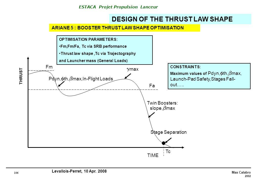 106 Max Calabro 2002 ESTACA Projet Propulsion Lanceur Levallois-Perret, 10 Apr. 2008 ARIANE 5 : BOOSTER THRUST LAW SHAPE OPTIMISATION DESIGN OF THE TH
