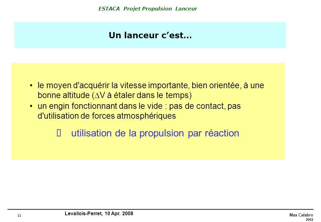 11 Max Calabro 2002 ESTACA Projet Propulsion Lanceur Levallois-Perret, 10 Apr. 2008 Un lanceur cest… le moyen d'acquérir la vitesse importante, bien o