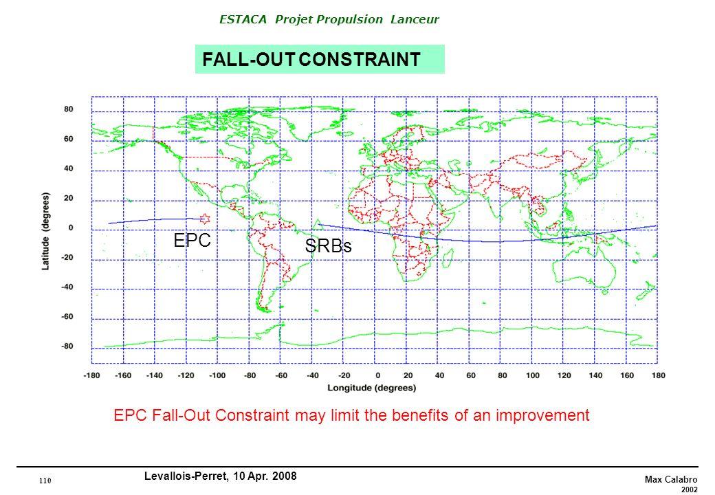 110 Max Calabro 2002 ESTACA Projet Propulsion Lanceur Levallois-Perret, 10 Apr. 2008 FALL-OUT CONSTRAINT EPC SRBs EPC Fall-Out Constraint may limit th