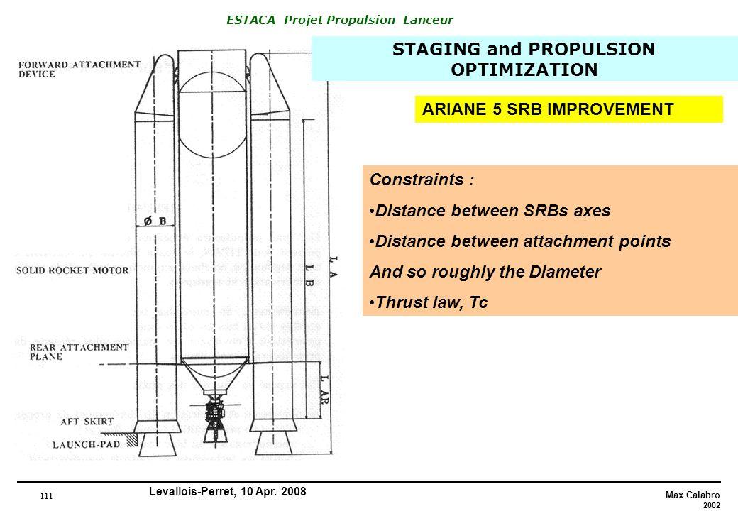 111 Max Calabro 2002 ESTACA Projet Propulsion Lanceur Levallois-Perret, 10 Apr. 2008 ARIANE 5 SRB IMPROVEMENT Constraints : Distance between SRBs axes