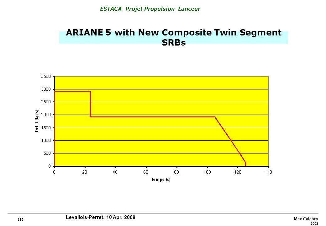 112 Max Calabro 2002 ESTACA Projet Propulsion Lanceur Levallois-Perret, 10 Apr. 2008 ARIANE 5 with New Composite Twin Segment SRBs