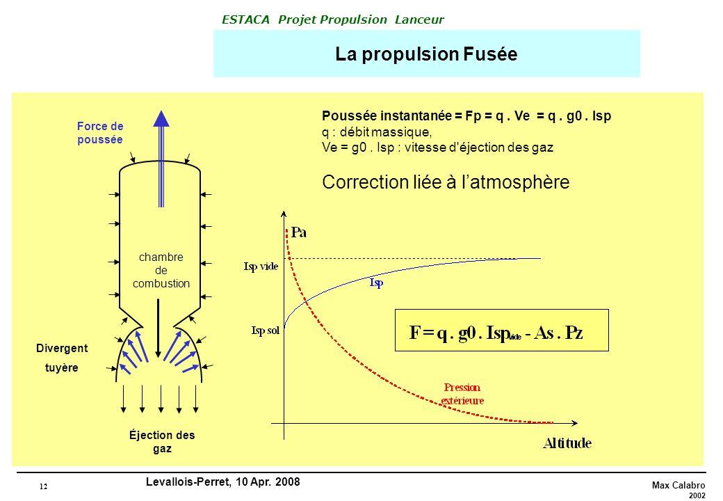 12 Max Calabro 2002 ESTACA Projet Propulsion Lanceur Levallois-Perret, 10 Apr. 2008 La propulsion Fusée chambre de combustion Force de poussée Éjectio