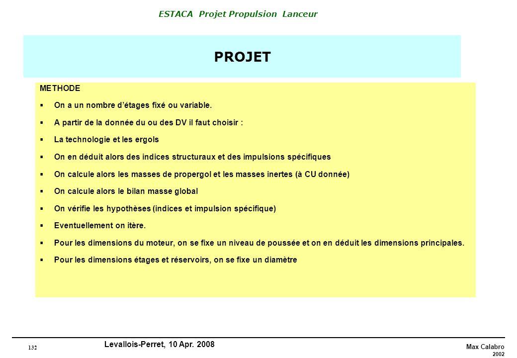 132 Max Calabro 2002 ESTACA Projet Propulsion Lanceur Levallois-Perret, 10 Apr. 2008 PROJET METHODE On a un nombre détages fixé ou variable. A partir