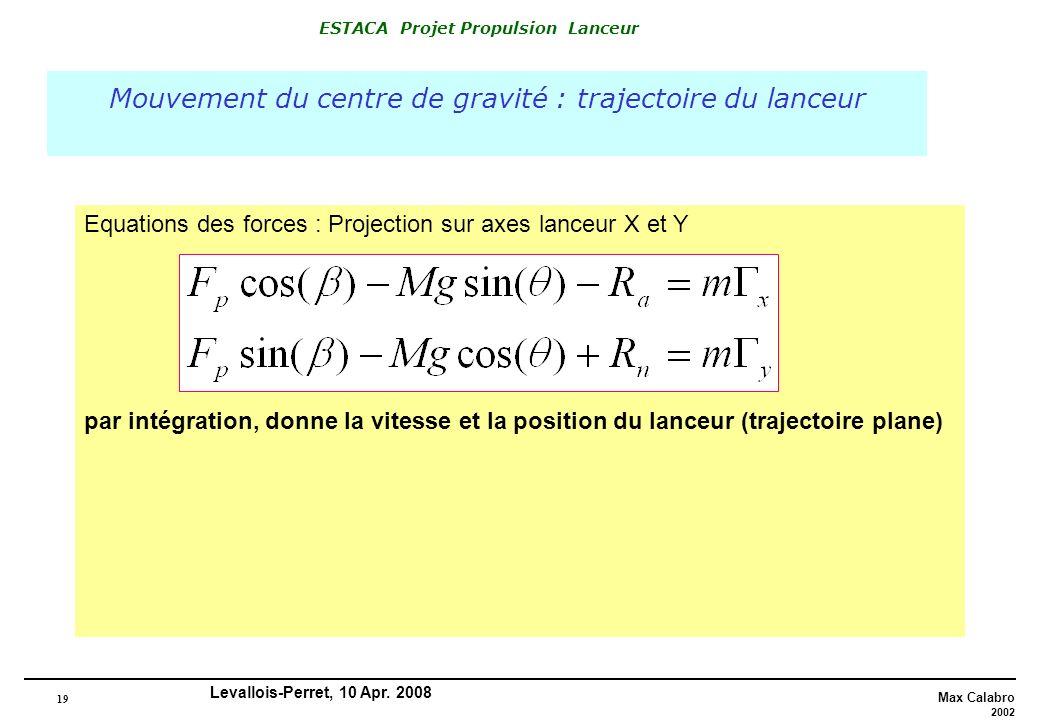 19 Max Calabro 2002 ESTACA Projet Propulsion Lanceur Levallois-Perret, 10 Apr. 2008 Mouvement du centre de gravité : trajectoire du lanceur Equations