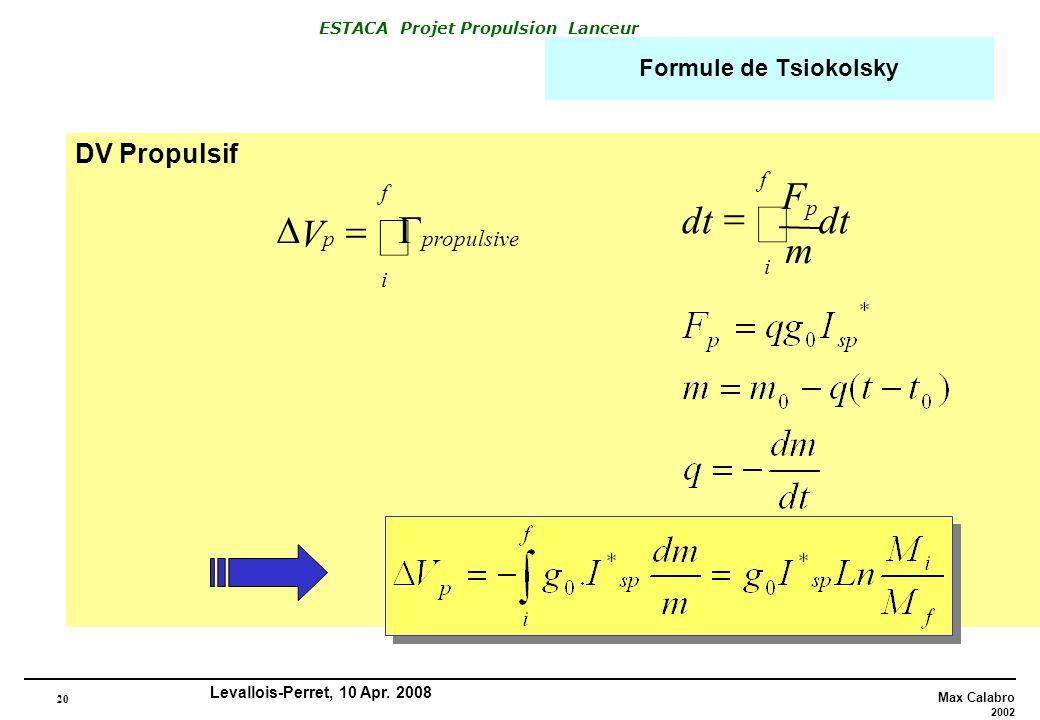 20 Max Calabro 2002 ESTACA Projet Propulsion Lanceur Levallois-Perret, 10 Apr. 2008 Formule de Tsiokolsky DV Propulsif V p f i propulsivep i dt m F f