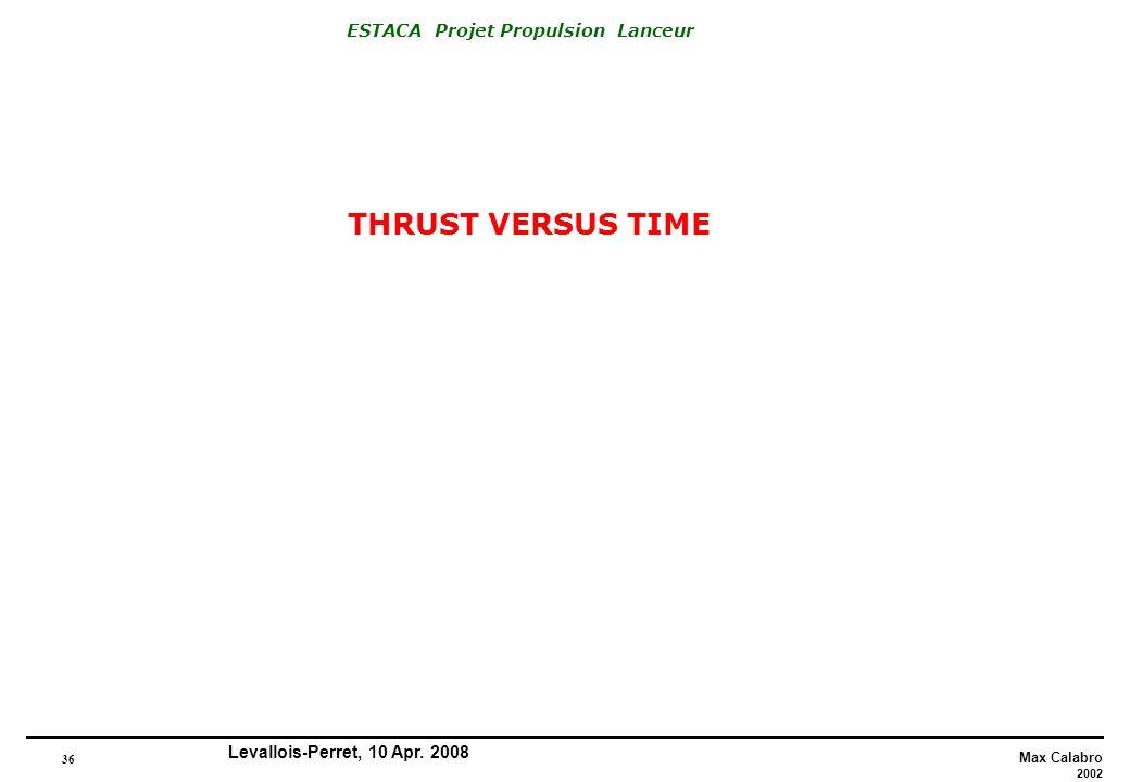 36 Max Calabro 2002 ESTACA Projet Propulsion Lanceur Levallois-Perret, 10 Apr. 2008 THRUST VERSUS TIME