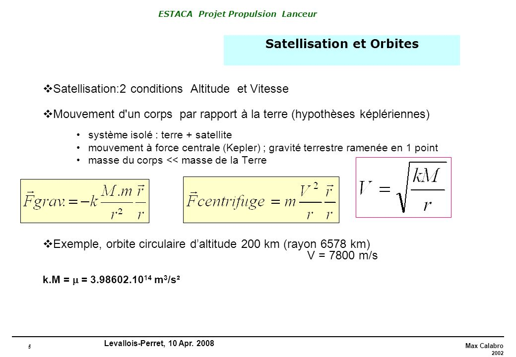 5 Max Calabro 2002 ESTACA Projet Propulsion Lanceur Levallois-Perret, 10 Apr. 2008 Satellisation:2 conditions Altitude et Vitesse Mouvement d'un corps