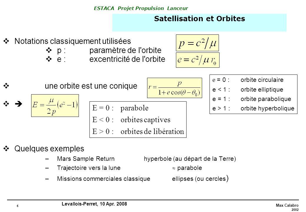 6 Max Calabro 2002 ESTACA Projet Propulsion Lanceur Levallois-Perret, 10 Apr. 2008 Notations classiquement utilisées p : paramètre de l'orbite e : exc