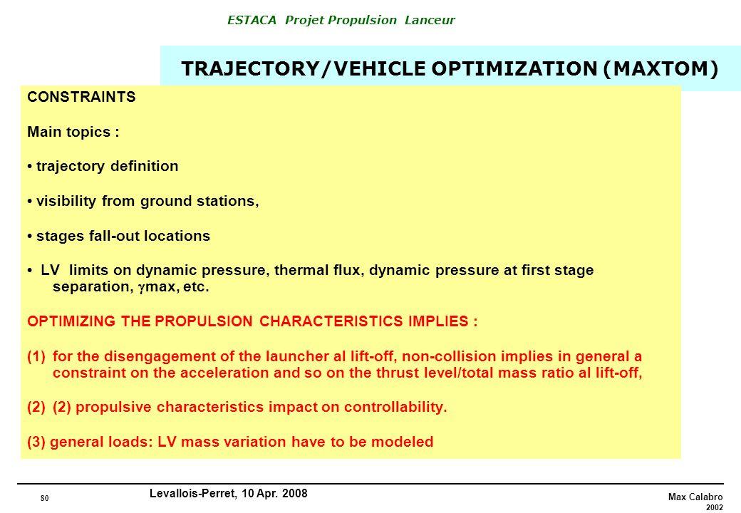 80 Max Calabro 2002 ESTACA Projet Propulsion Lanceur Levallois-Perret, 10 Apr. 2008 TRAJECTORY/VEHICLE OPTIMIZATION (MAXTOM) CONSTRAINTS Main topics :