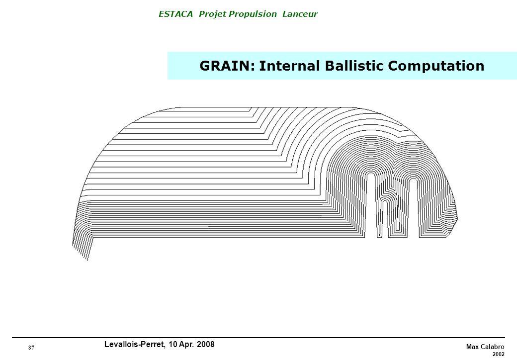 87 Max Calabro 2002 ESTACA Projet Propulsion Lanceur Levallois-Perret, 10 Apr. 2008 GRAIN: Internal Ballistic Computation
