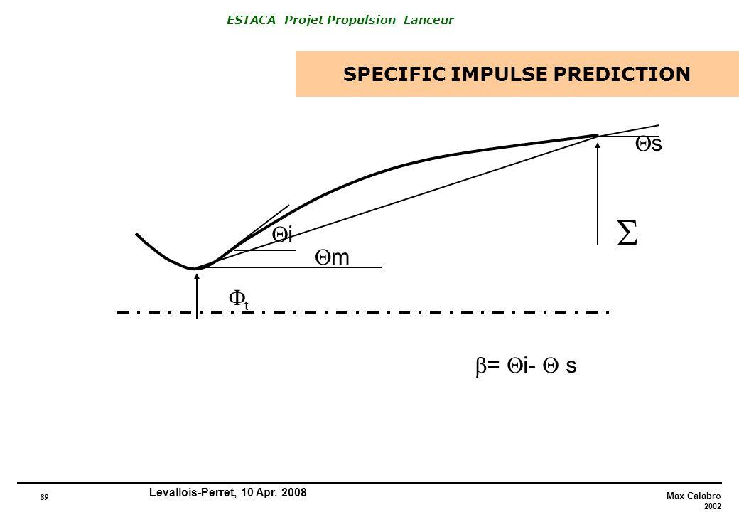 89 Max Calabro 2002 ESTACA Projet Propulsion Lanceur Levallois-Perret, 10 Apr. 2008 SPECIFIC IMPULSE PREDICTION m s i = i- s t