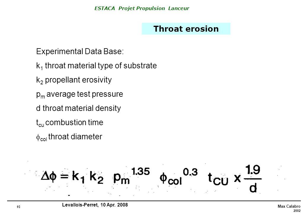 92 Max Calabro 2002 ESTACA Projet Propulsion Lanceur Levallois-Perret, 10 Apr. 2008 Throat erosion Experimental Data Base: k 1 throat material type of