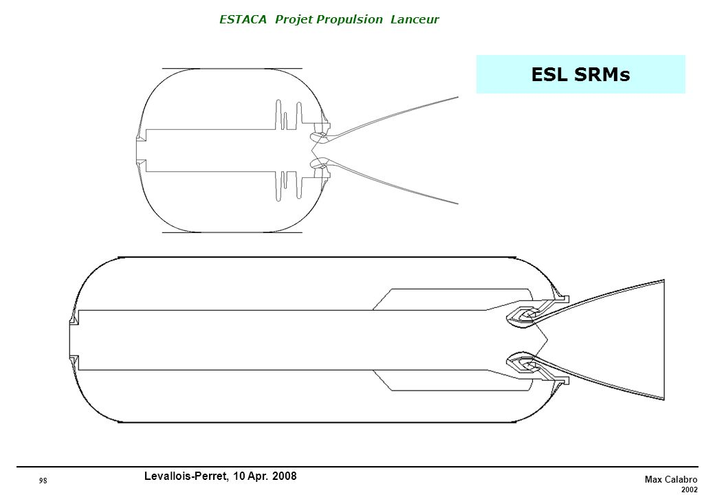 98 Max Calabro 2002 ESTACA Projet Propulsion Lanceur Levallois-Perret, 10 Apr. 2008 ESL SRMs