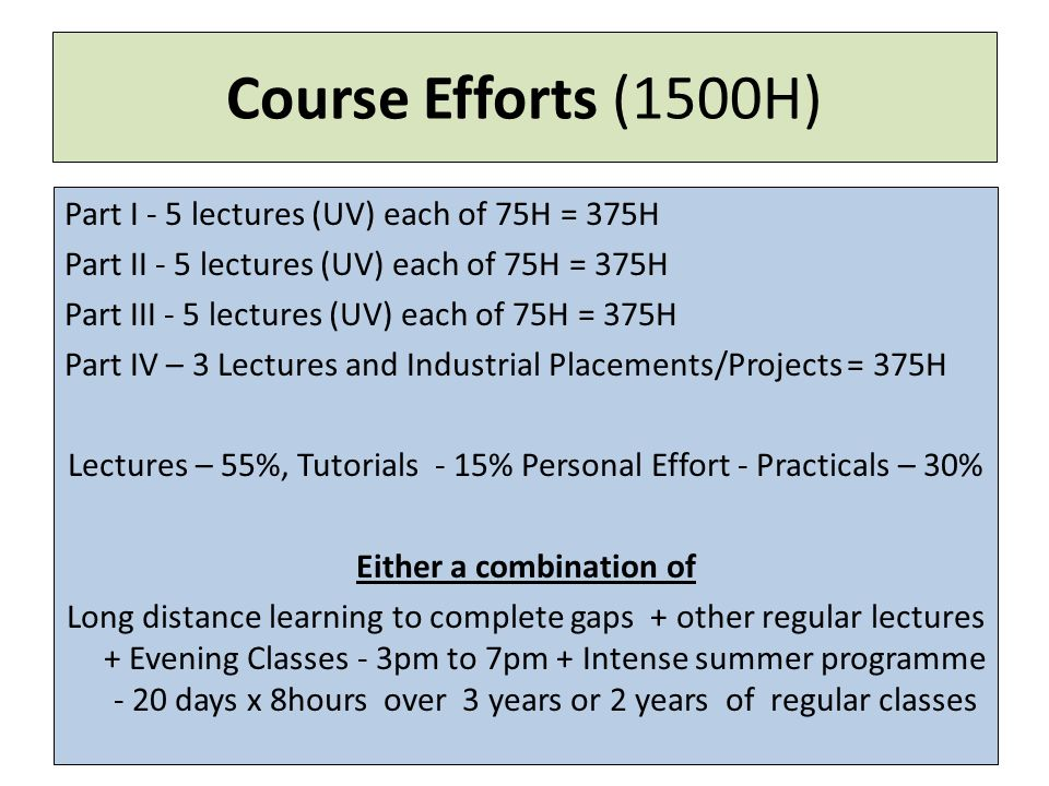Course Efforts (1500H) Part I - 5 lectures (UV) each of 75H = 375H Part II - 5 lectures (UV) each of 75H = 375H Part III - 5 lectures (UV) each of 75H = 375H Part IV – 3 Lectures and Industrial Placements/Projects = 375H Lectures – 55%, Tutorials - 15% Personal Effort - Practicals – 30% Either a combination of Long distance learning to complete gaps + other regular lectures + Evening Classes - 3pm to 7pm + Intense summer programme - 20 days x 8hours over 3 years or 2 years of regular classes