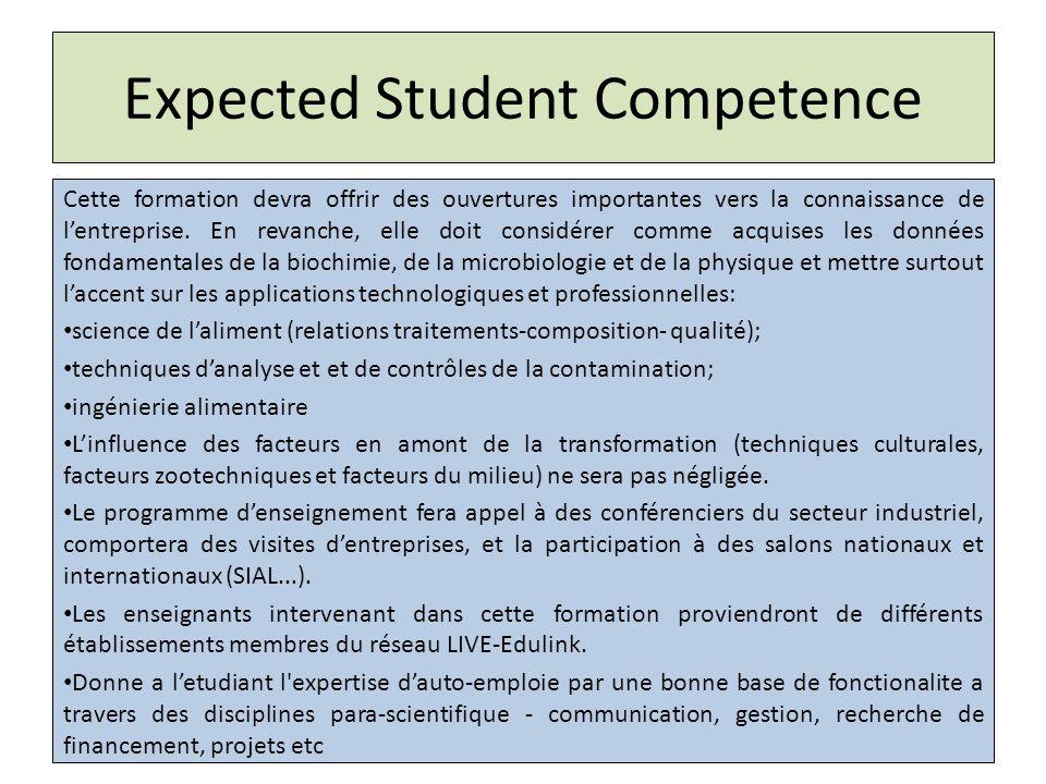 Expected Student Competence Cette formation devra offrir des ouvertures importantes vers la connaissance de lentreprise.