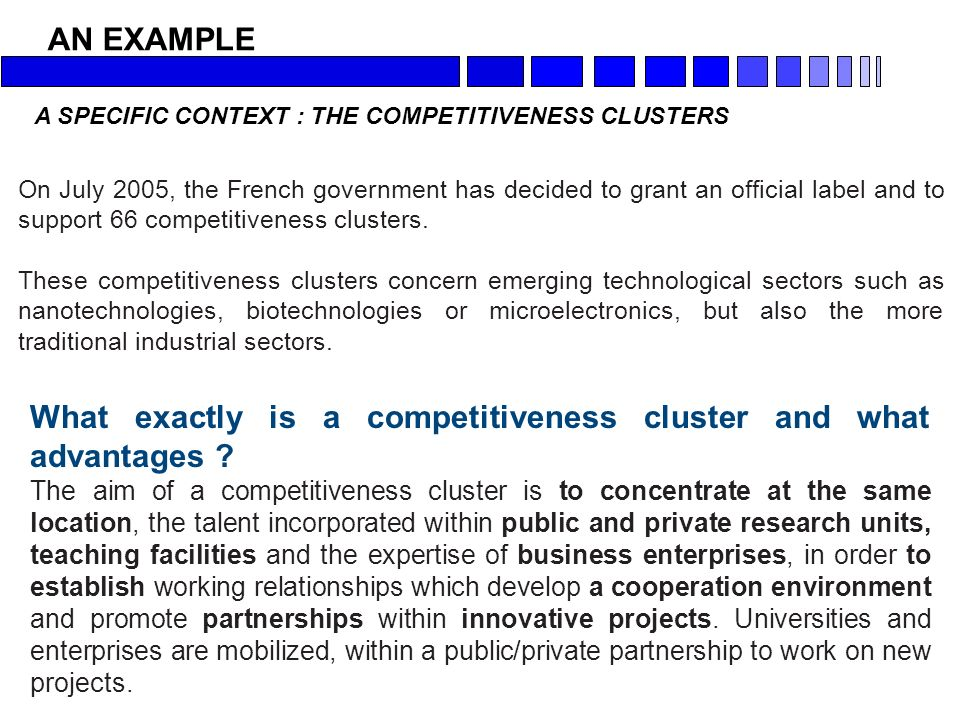 A SPECIFIC CONTEXT : THE COMPETITIVENESS CLUSTERS On July 2005, the French government has decided to grant an official label and to support 66 competitiveness clusters.
