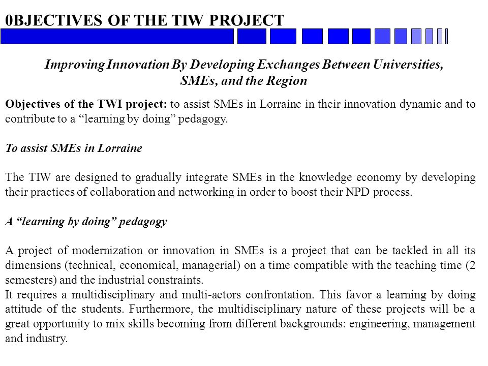 0BJECTIVES OF THE TIW PROJECT Improving Innovation By Developing Exchanges Between Universities, SMEs, and the Region Objectives of the TWI project: t