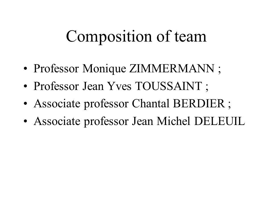 Composition of team Professor Monique ZIMMERMANN ; Professor Jean Yves TOUSSAINT ; Associate professor Chantal BERDIER ; Associate professor Jean Michel DELEUIL