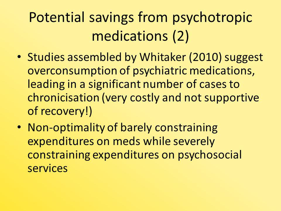 Potential savings from psychotropic medications (2) Studies assembled by Whitaker (2010) suggest overconsumption of psychiatric medications, leading i