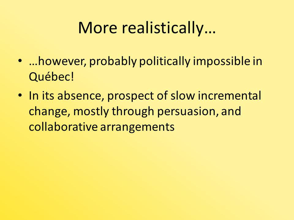 More realistically… …however, probably politically impossible in Québec! In its absence, prospect of slow incremental change, mostly through persuasio
