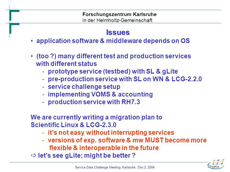 Service Data Challenge Meeting, Karlsruhe, Dec 2, 2004 Forschungszentrum Karlsruhe in der Helmholtz-Gemeinschaft Issues application software & middlew