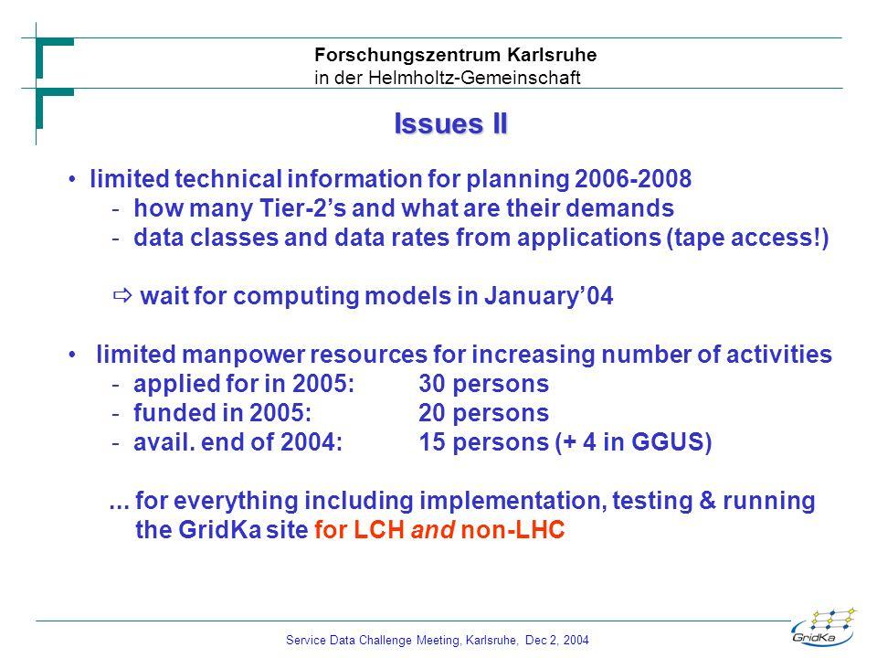 Service Data Challenge Meeting, Karlsruhe, Dec 2, 2004 Forschungszentrum Karlsruhe in der Helmholtz-Gemeinschaft Issues II limited technical informati
