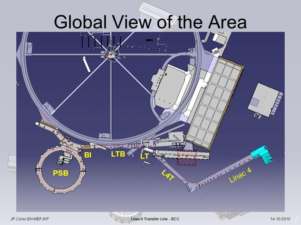 JP.Corso EN-MEF-INT Linac4 Transfer Line - BCC 14-10-2010 Global View of the Area Linac 4 PSB BI LTB LT L4T