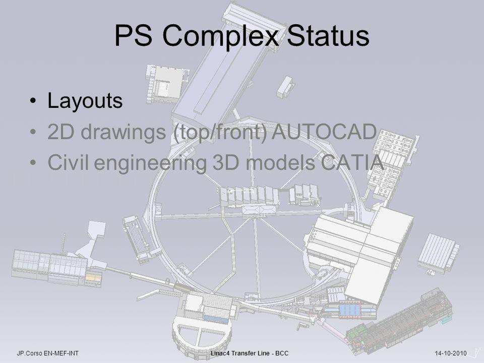 JP.Corso EN-MEF-INT Linac4 Transfer Line - BCC 14-10-2010 PS Complex Status Layouts 2D drawings (top/front) AUTOCAD Civil engineering 3D models CATIA