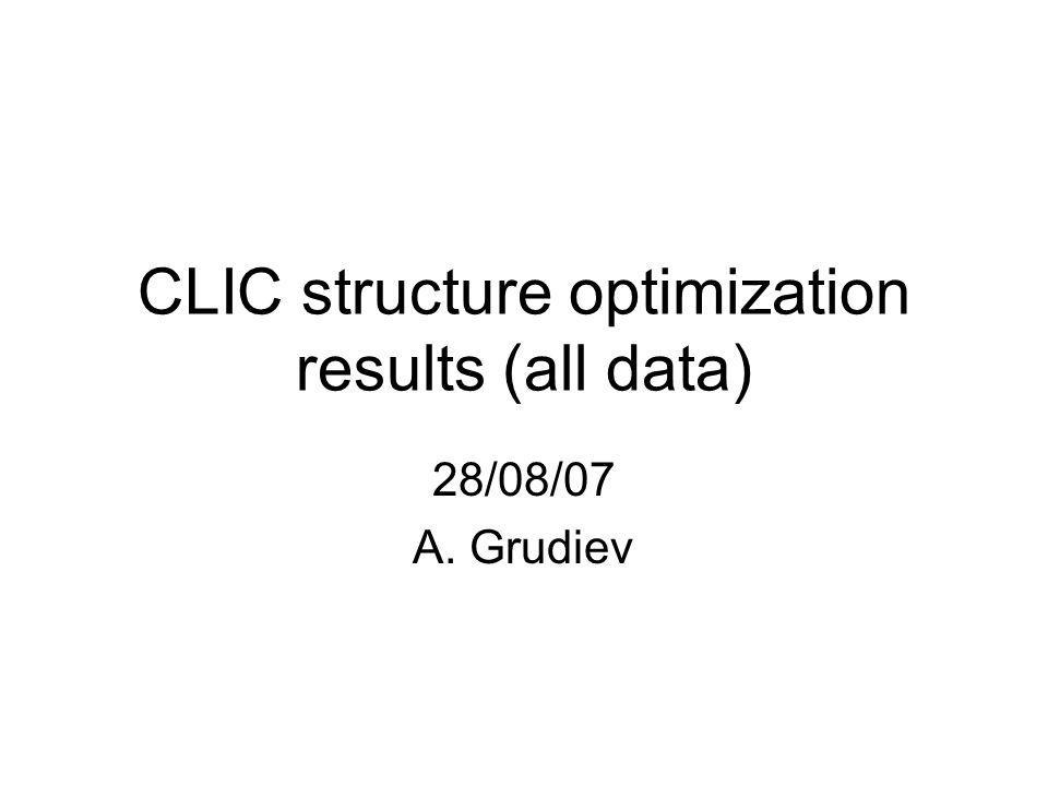 CLIC structure optimization results (all data) 28/08/07 A. Grudiev