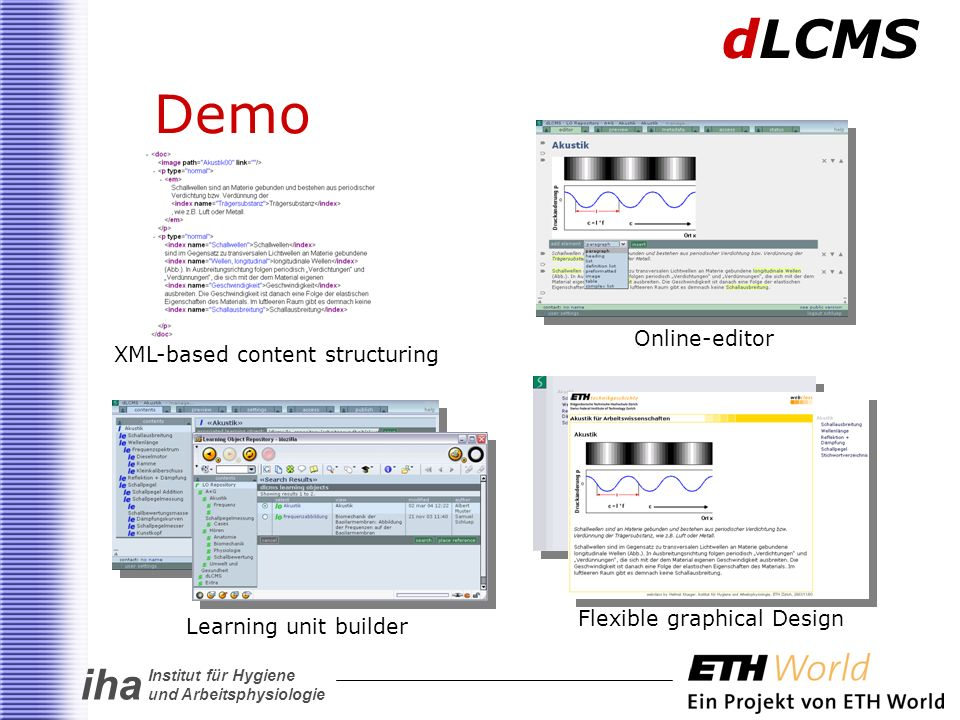 iha Institut für Hygiene und Arbeitsphysiologie Demo dLCMS XML-based content structuring Online-editor Learning unit builder Flexible graphical Design