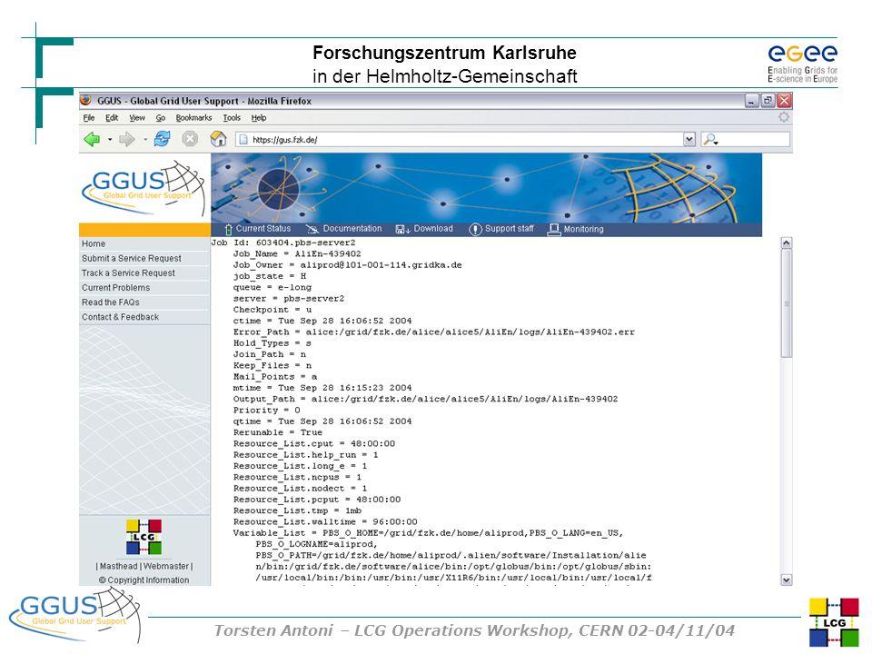 Forschungszentrum Karlsruhe in der Helmholtz-Gemeinschaft Torsten Antoni – LCG Operations Workshop, CERN 02-04/11/04